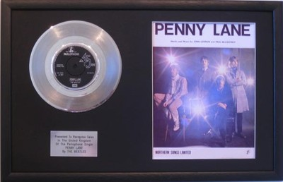 The Beatles Platinum Disc Amp Song Sheet Penny Lane