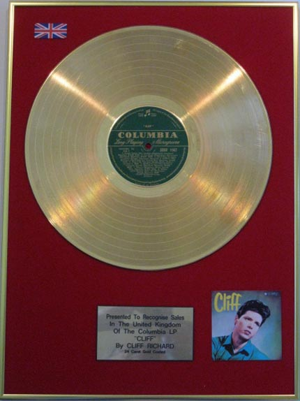 Cliff Richard 24 Carat Gold Lp Disc Cliff
