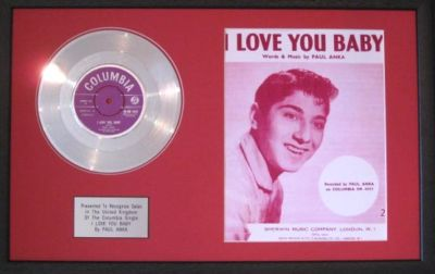 Paul Anka Platinum Disc Amp Songsheet I Love You Baby