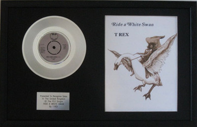 T REX (MARK BOLAN)-Platinum Disc & illustration from song book-RIDE A WHITE  SWAN