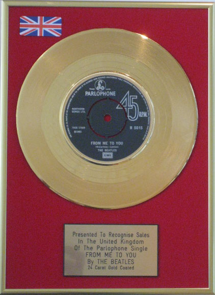 The Beatles 7 24 Carat Gold Disc From Me To You